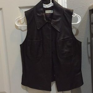 Ann Taylor dark brown real leather vest w/ collar